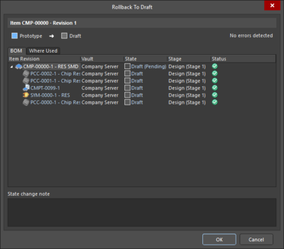 The many iterations of the State Transition Validation dialog.