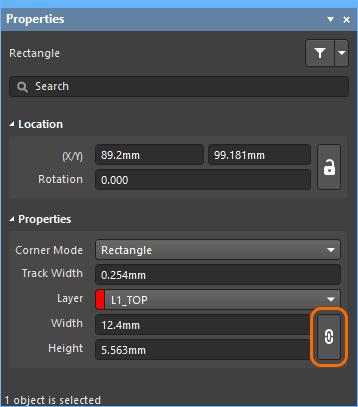 アスペクト比をロックした四角形。カーソルを画像の上に置くと、ロックされていないアイコンが表示されます。