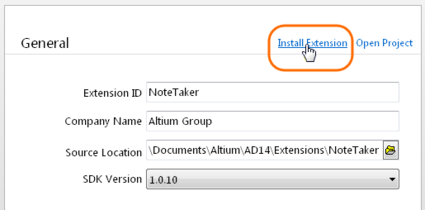 An existing extension project can be installed in Altium Designer by loading its EPD document and clicking on the Install Extension command in the DXP Developer interface.