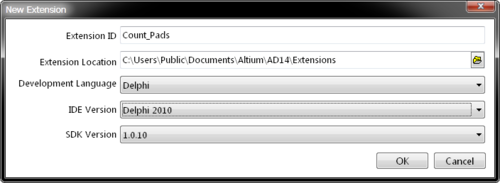 Specify the new extension project ID/path and the development language type/version to implement the extension structure.