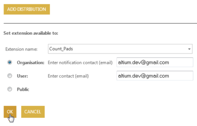 Configure and apply the Licensing (left) and Distribution (right) options for a specific extension.