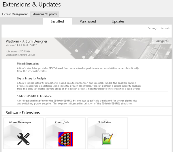 Installed DXP Developer extension projects can be installed and managed in Altium Designer via the Extensions & Updates page.
