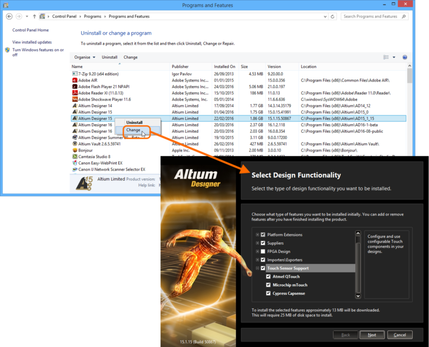Modify the installation at any stage by changing the core functionality installed.