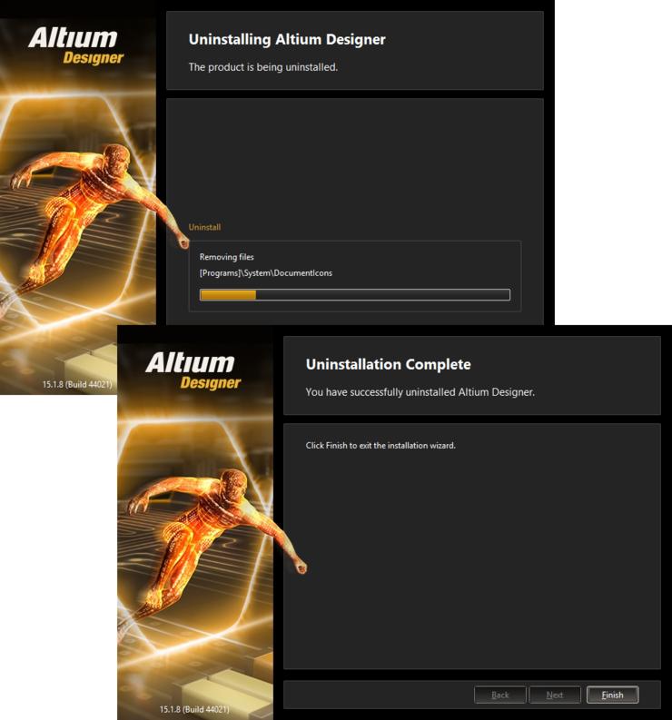 The Altium Designer Uninstaller in action!