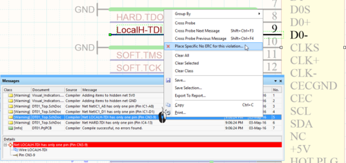 The right-click command makes it easy to place a specific No ERC directive directly at the error location, either from the Messages panel (left image) or at the violation (right image).