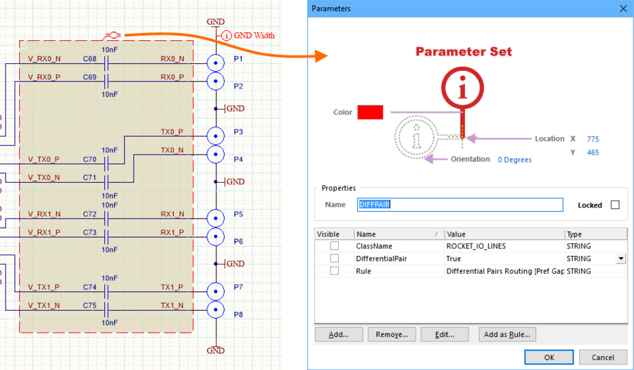 The Parameter Set object can display in different ways, depending on the parameters that it holds.