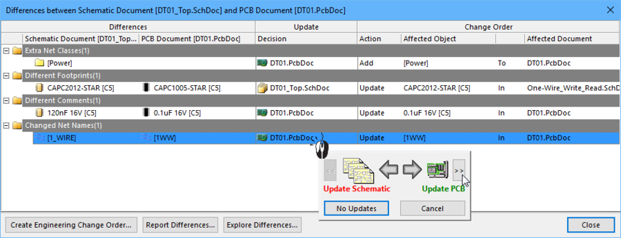 For each difference, the Update direction must be set for an ECO to be created to resolve that difference.