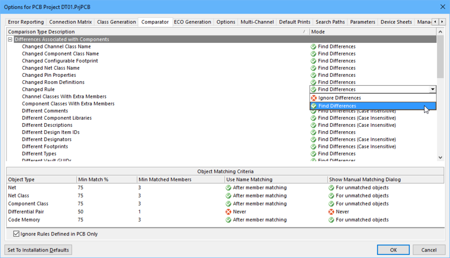 The comparator engine obeys the settings defined in the Comparator tab of the Options for Project dialog.