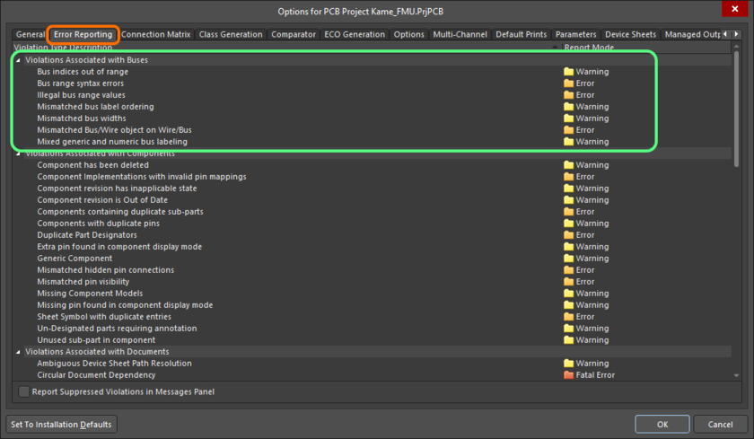 The Violations Associated with Buses region on the Error Reporting tab of the Project Options dialog