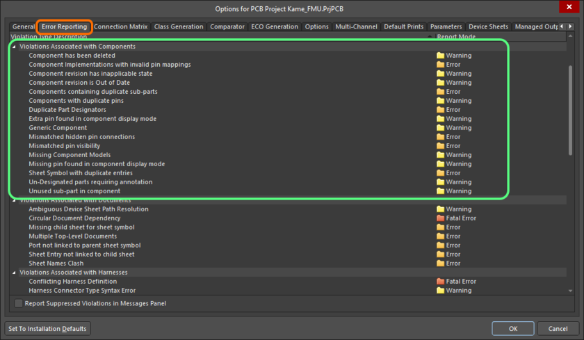 The Violations Associated with Components region on the Error Reporting tab of the Project Options dialog