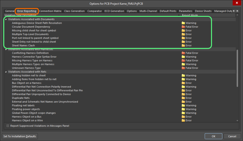 The Violations Associated with Documents region on the Error Reporting tab of the Project Options dialog