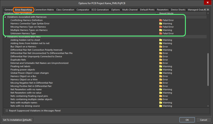 The Violations Associated with Harnesses region on the Error Reporting tab of the Project Options dialog