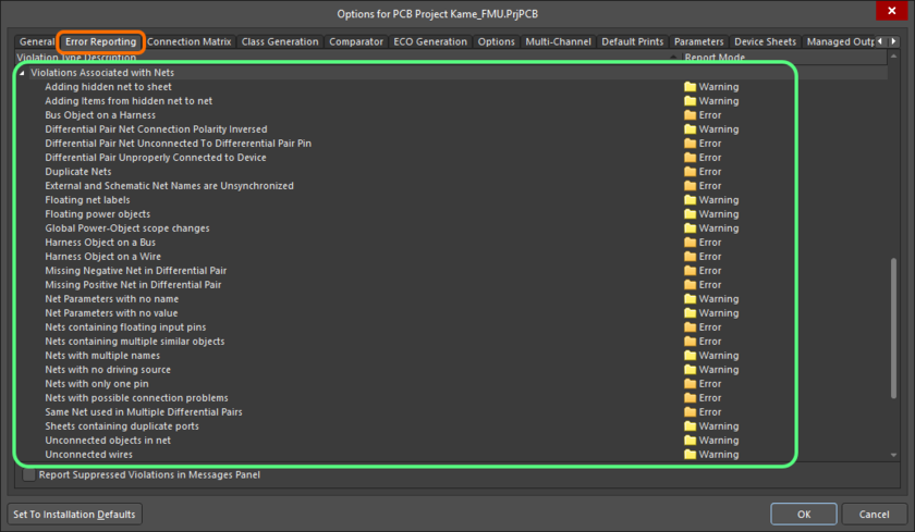 The Violations Associated with Nets region on the Error Reporting tab of the Project Options dialog