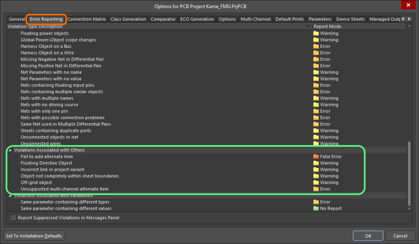 The Violations Associated with Others region on the Error Reporting tab of the Project Options dialog