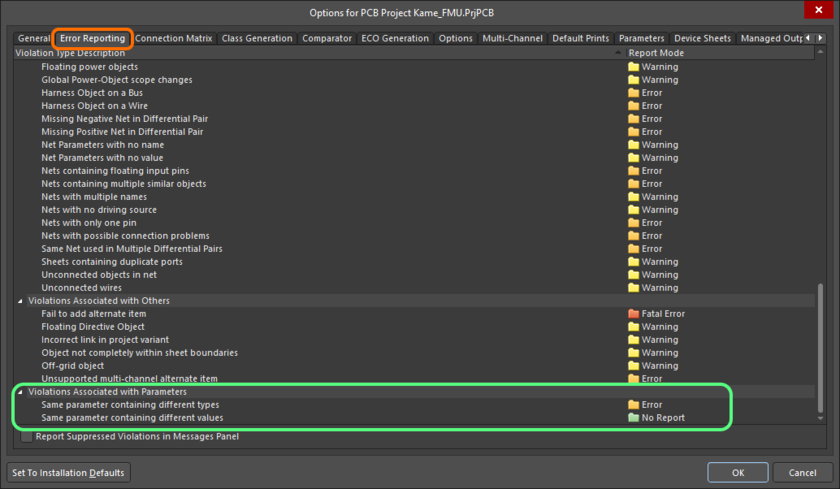 The Violations Associated with Parameters region on the Error Reporting tab of the Project Options dialog
