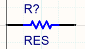 A resistor created with two display modes. The library editor includes a Mode toolbar, which can be used to add/remove and step through the modes.