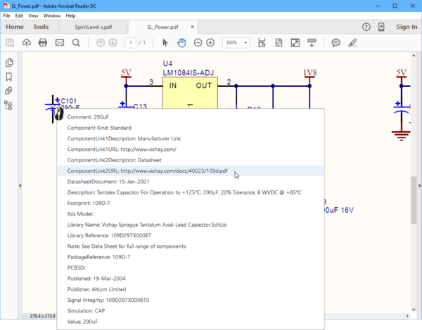Click on a component in the PDF to display the parameters, click on a link-type parameter to open the target.
