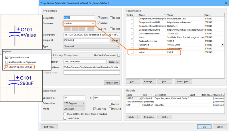 Use the special strings feature to map any parameter value to the component's Comment.