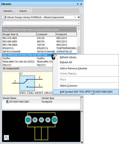 Version-controlled models can be edited directly from the panel (left image), saved, then Committed back into the repository, ready for use (right image).