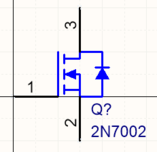Symbols can range from the small and simple, like this MOSFET, through to high pin-count components like the FPGA, created over multiple parts.
