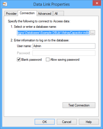 Building a connection string through the Data Link Properties dialog.