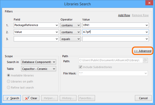 Hover over the image to see how the dialog changes when you click Advanced, giving you access to a more powerful  SQL-based query search. Click Simple to come back to the simple-style search.