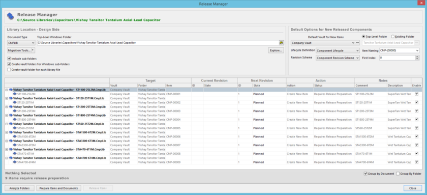 Release component definitions, stored in one or more source Component Libraries, using the Release Manager.