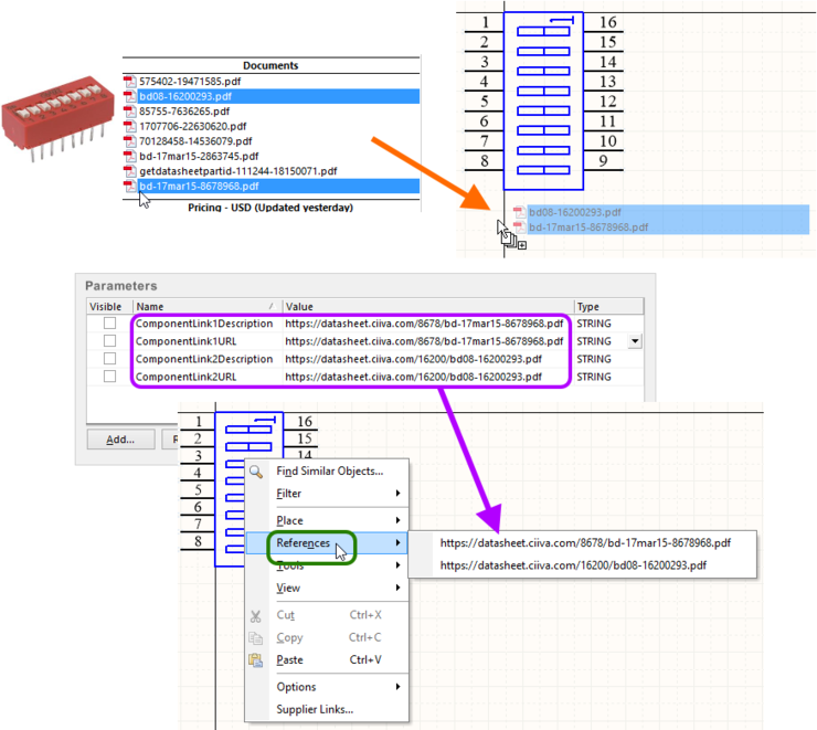 Example of Supplier Item datasheets imported to a schematic library component.You can see the selected datasheets (in the Supplier Search panel) dragged  into the main editing window for the active library component, with the resulting added parameters verified in the component's associated properties dialog.  The datasheets are made available on the References sub-menu, when right-clicking over the component.