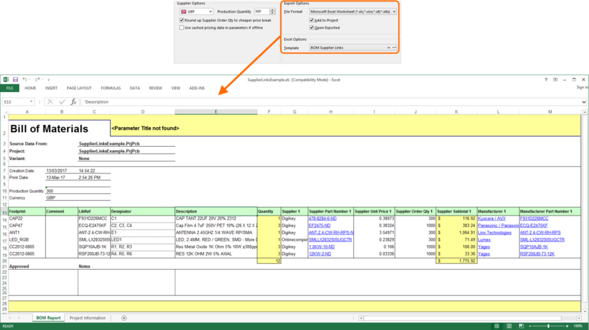 Example Bill of Materials generated using the Excel template file, BOM Supplier Links.xlt.