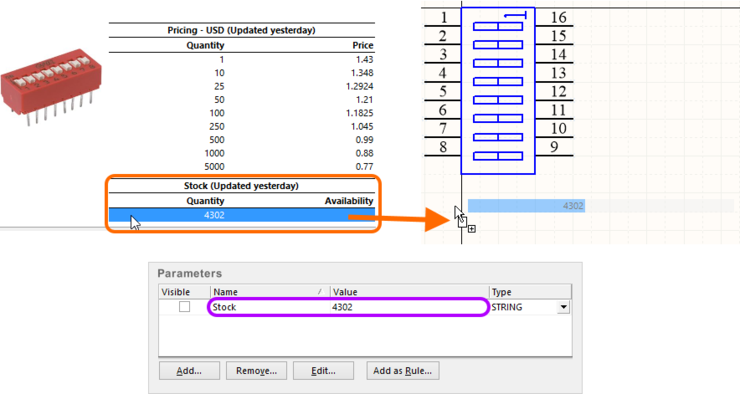 Stock information for a Supplier Item is imported as a distinct parameter.