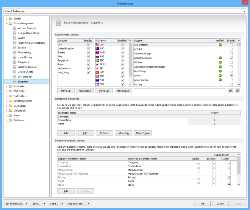 Configure options relating to the feature to link to Supplier data, as part of your Altium Designer preferences.