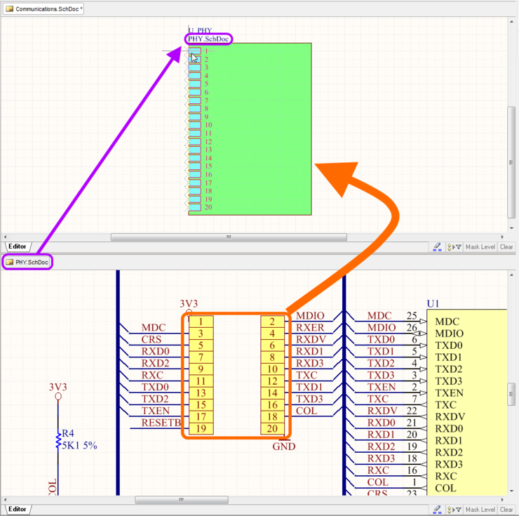 Use the Create Sheet Symbol From Sheet or HDL command to quickly add a sheet symbol, thereby threading the sub-circuit into the design hierarchy.