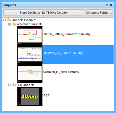 The Snippets panel is the central point for creating, managing, and reusing snippets  of design circuitry.