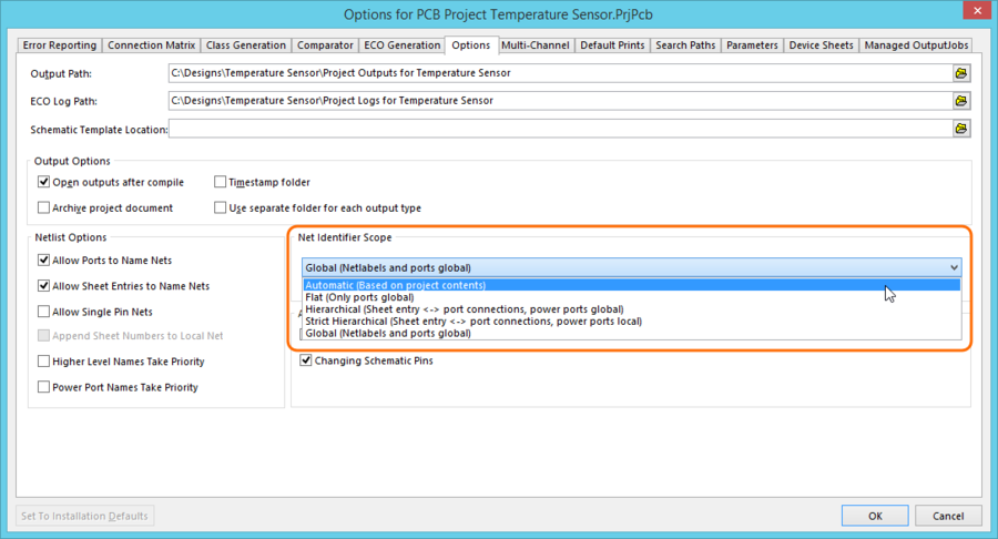 Select the Net Identifier Scope mode to suit the structure of your design.