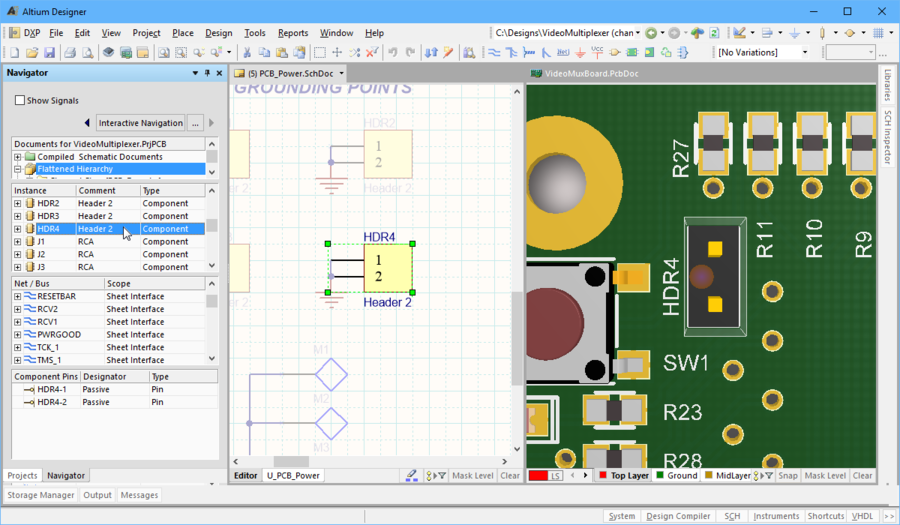 Navigate to a component on the schematic and the PCB at the same time.