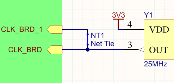 A Net Tie component being used to route a single clock to two FPGA clock pins, on the PCB the pads (shown as hatched) in the Net Tie footprint are shorted with a track (shown as an outline).