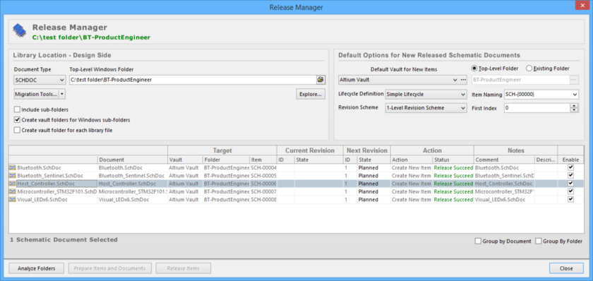 Release schematic sheets, stored in one or more source documents, using the Release Manager.