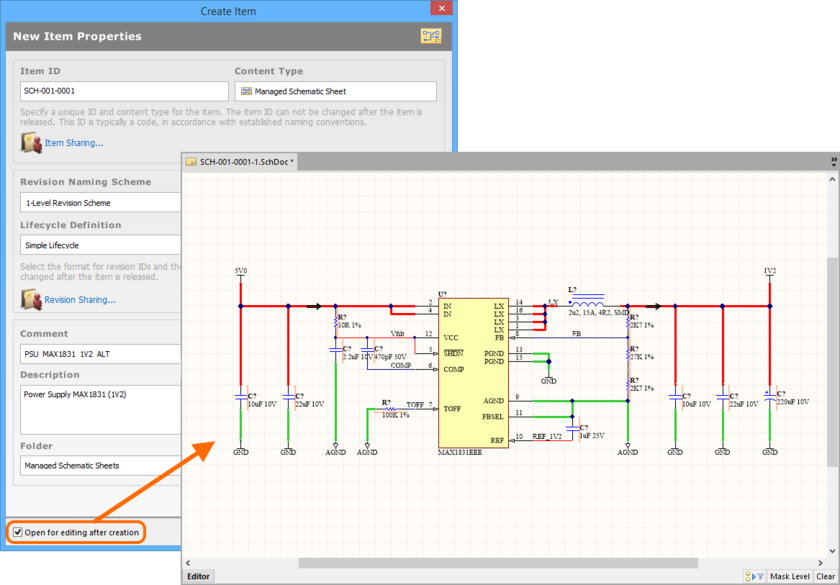 Example of editing the initial revision of a Managed Schematic Sheet Item, directly from the vault - the temporary Schematic Editor provides the document with which to define  your schematic sheet.