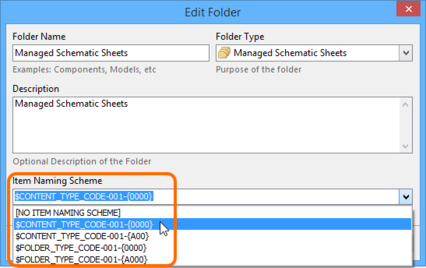 The Item Naming Scheme of the parent folder is applied to the Unique ID for each Item  created within that folder.