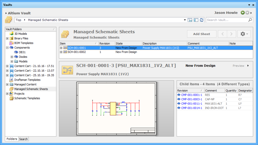 Browse the released revision of the Managed Schematic Sheet Item, back in the Vaults panel. Switch to the Preview aspect view to see a graphical representation, and a  listing of the child Component Item Revisions.
