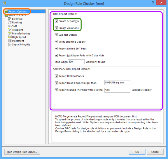 Accessing options applicable to running a Batch DRC, and generating a DRC report.