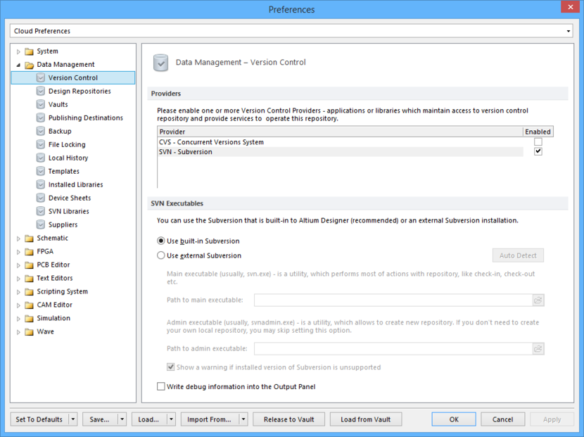 The Data Management - Version Control page of the Preferences dialog.