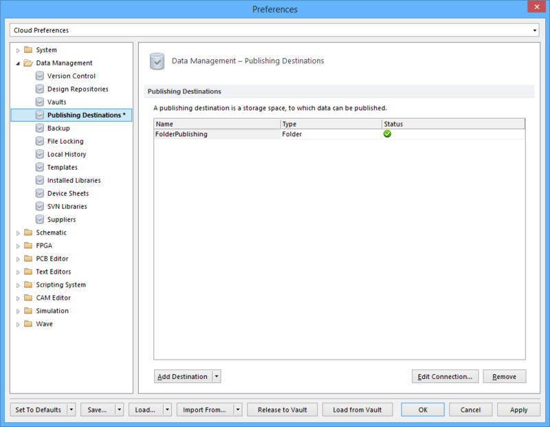 The Data Management - Publishing Destinations page of the Preferences dialog.