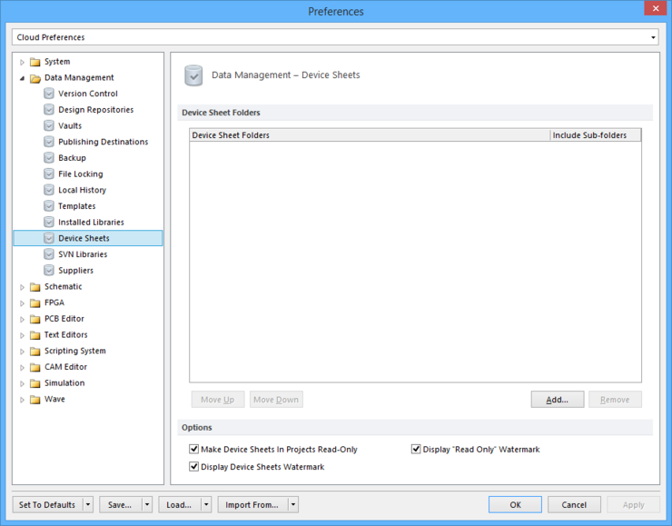 The Data Management - Device Sheets page of the Preferences dialog.