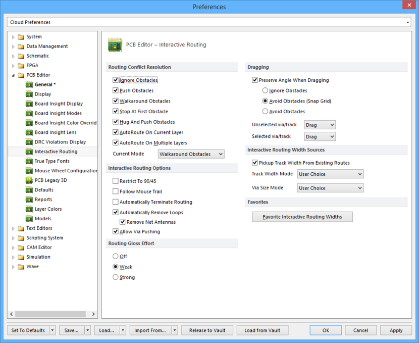 The PCB Editor - Interactive Routing page of the Preferences dialog.