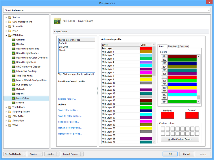The PCB Editor - Layer Colors page of the Preferences dialog.