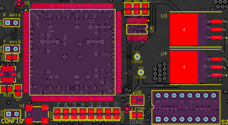 The example board shown with Objects set to Components and  Pads (In Any Component). Layers is set to Top Layer.