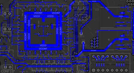 The example board shown with Objects  set to Tracks (In Any  Net). Layers is set  to Bottom Layer.
