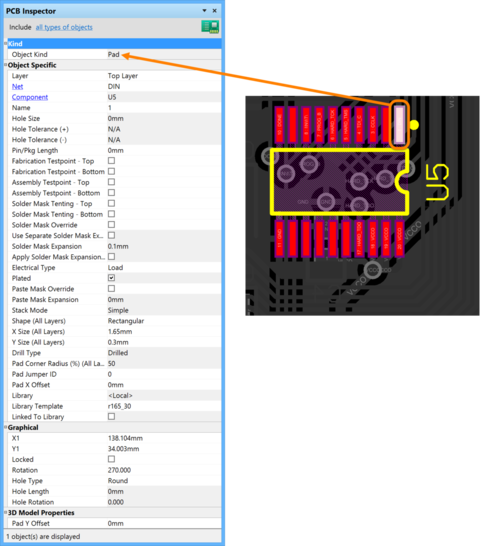 Only highlighted objects are selectable, and information is instantly available via the PCB Inspector panel.