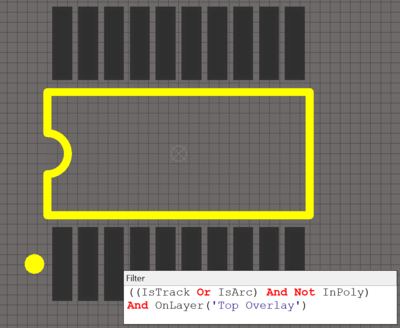 The example board shown with Track and Arc selected under Object .  Layer is set to Top Overlay.